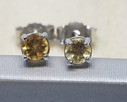 Natural Citrine Silver Earstuds