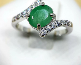 Natural Zambian Emerald Silver Ring With Cubic Zirconia