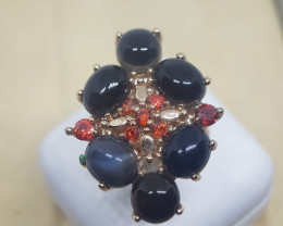 Natural Multi Black Onyx Stainless Steel Free Size Ring With Cubic Zirconia