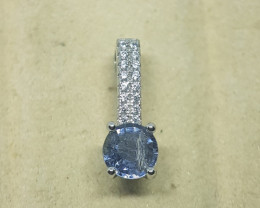 Natural Un Treated Burma Blue Spinel Silver Pendant With Cubic Zirconia
