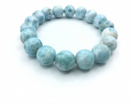 12mm Natural Larimar Bracelet