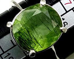 Natural Green Peridot Silver Ring