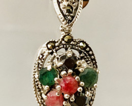RUBY EMERALD SAPPHIRE MIXED 925 SILVER PENDENT