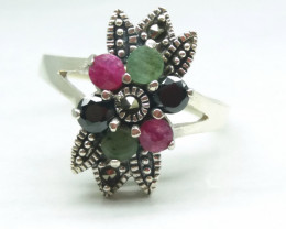 RUBY EMERALD SAPPHIRE 925 SILVER RING