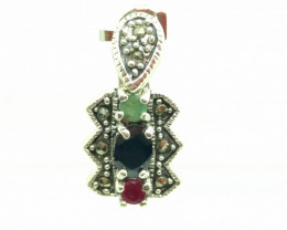 RUBY EMERALD SAPPHIRE MIXED PENDENT WITH 92.5% SILVER