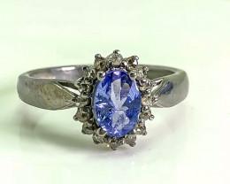 11.15 Crt Natural Diamond & Tanzanite  925 Silver Ring
