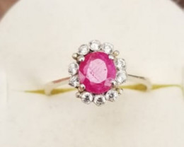 Natural Ruby & Small Zircons Ring