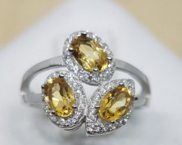 Natural Citrine 3 in 1 Silver Ring With Cubic Zirconia