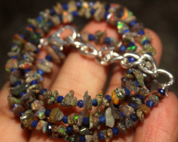 28 Crt Natural Ethiopian Welo Uncut Smoked Opal & Lapis Lazuli Necklace 1