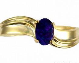 Australian opal doublet  Gold plated silver ring MU 628