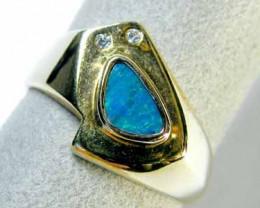 Australian opal doublet G/P Silver ring  SCA 1461