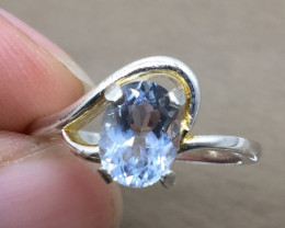 Aquamarine 1.24 cts Transparent white Rhodium 925 Sterling silver ring