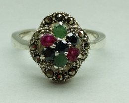 RUBY EMERALD SAPPHIRE MIXED 925 SILVER RING