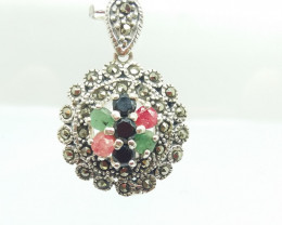 RUBY EMERALD SAPPHIRE MIXED 925 SILVER PENDANT