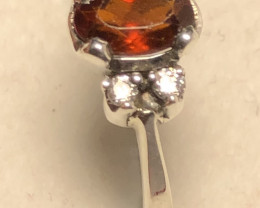 Natural Hessonite Garnet 925 Silver Ring