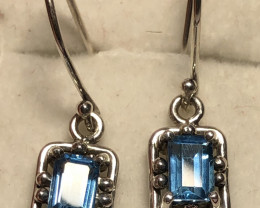 Natural Blue Topaz 925 Silver Earrings