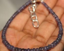 23 Crt Natural Tanzanite Rondelle Beads Bracelet 562