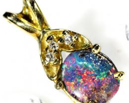 Multi Colour Fire Flash Boulder Opal Pendant SCO45