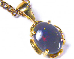 SOLID BLACK OPAL FIERY FIRE FLASH 18K GOLD PENDANT SCO276