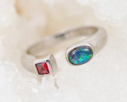 Doublet Silver Opal Rings