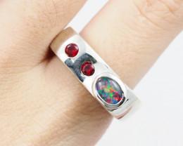 Australian Opal n Garnet Silver Ring OPJ 2220