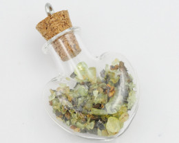 Crystals From metiorite set in Heart  Pendant vase WS 1201