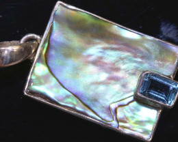 15.80 CTS ABALONE SHELL PENDANT WITH TOPAZ  TBJ-512