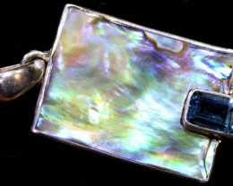 34.6  CTS ABALONE SHELL PENDANT WITH TOPAZ  TBJ-513