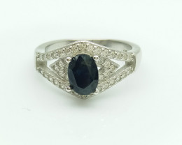 BLUE SAPPHIRE NATURAL STONE 925 SILVER RING