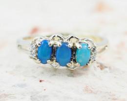 Australian Opal Doublet ClusterSilver Ring OPJ 2224