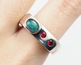 Australian Opal Triplet and Garnet Silver Ring OPJ 2227