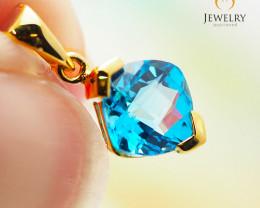 14K  Gold Blue Topaz Pendant - 108 - D - P3886 950