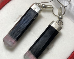 Natural Bi Colour Tourmaline 925 Silver Earrings