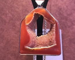 Agate druzy pendant with chain