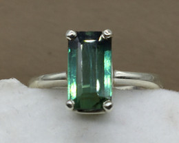Natural Green Tourmaline  Transparent  handmade 925 Sterling silver ring