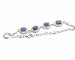 39.82 Crt Composite Sapphire 925 Silver Bracelet