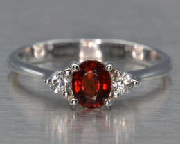Natural Spessartite Garnet, CZ and Silver Ring