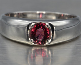 Natural Rhodolite Garnet and Silver Ring