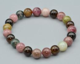 Natural Multi color Tourmaline Beads Bracelet