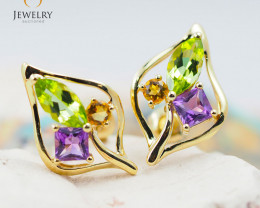 10 KY Yellow Gold Multi Stone Earrings - 64 - E E6907 1950