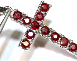 14.9 CTS RUBY SILVER CROSS PENDANT  TBJ-528