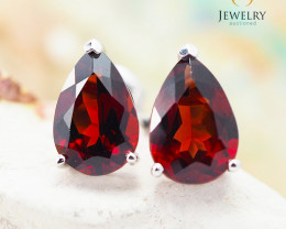 10 KW White Gold Garnet Earrings - 42 - E E735B 1550
