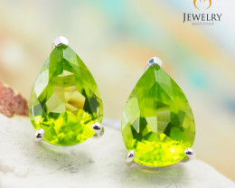 10 KW White Gold Peridot Earrings - 43 - E E735B 1700