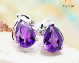 10 KW White Gold Amethyst & Diamond Earrings - 44 - E E728 1200