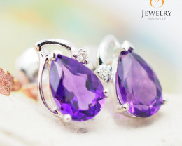 10 KW White Gold Amethyst & Diamond Earrings - 44 - E E728 1200