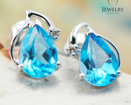 10 KW White Gold Blue Topaz & Diamond Earrings - 45 - E E728 1250