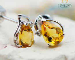10 KW White Gold Citrine & Diamond Earrings - 46 - E E728 1150