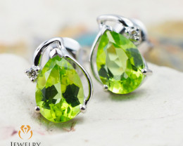 10 KW White Gold Peridot & Diamond Earrings - 48 - E E728 1150