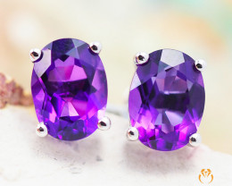 10 KW White Gold Amethyst Earrings - 49 - E E9659 1300