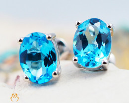 10 KW White Gold Blue Topaz Earrings - 50 - E E9659 1350